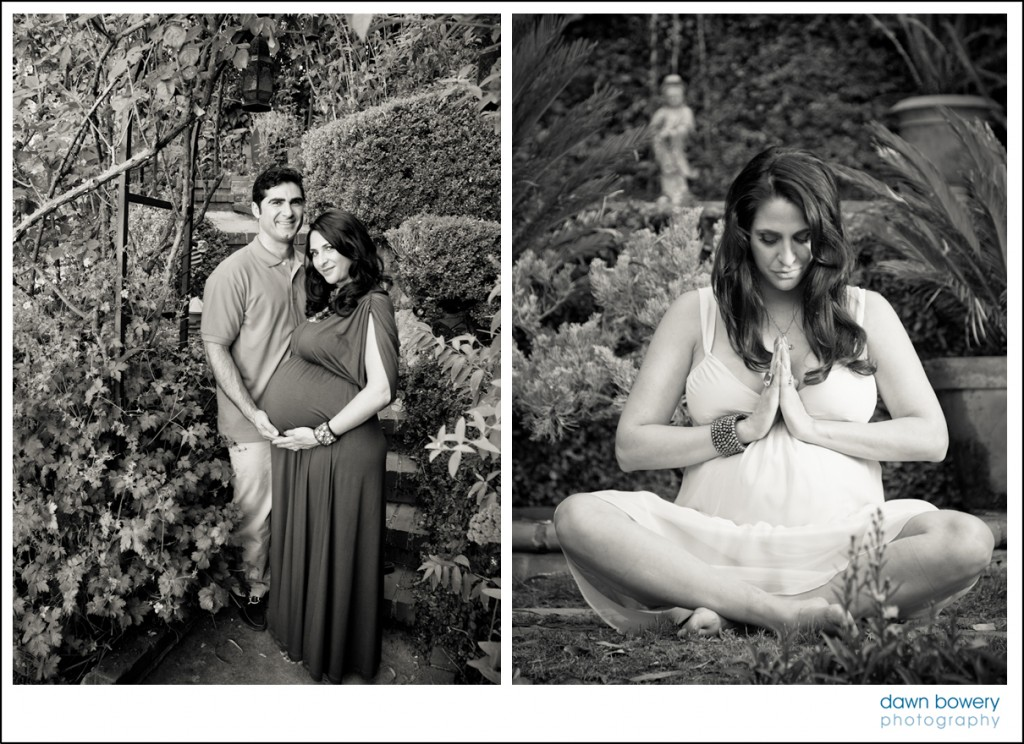 los angeles creative maternity shoot  black and white