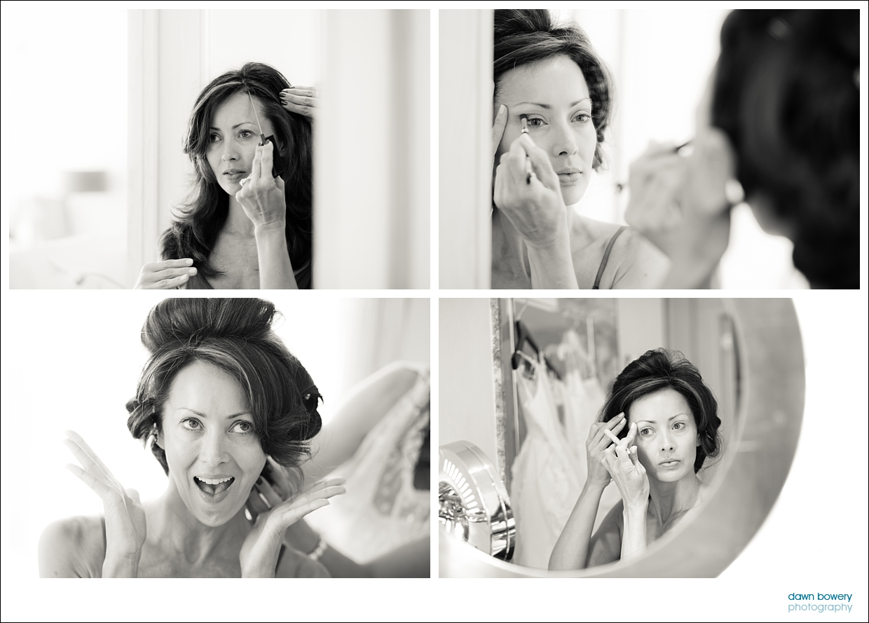 destination wedding photographer black and white getting ready