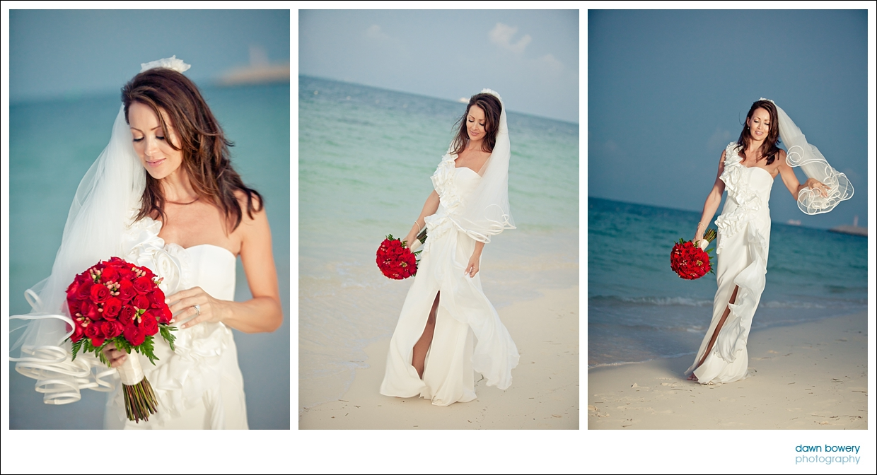 destination wedding photographer bride sunset beach
