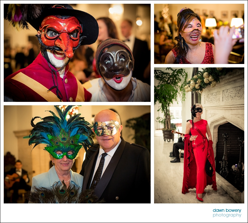 los angeles corporate event dinner venetian masks