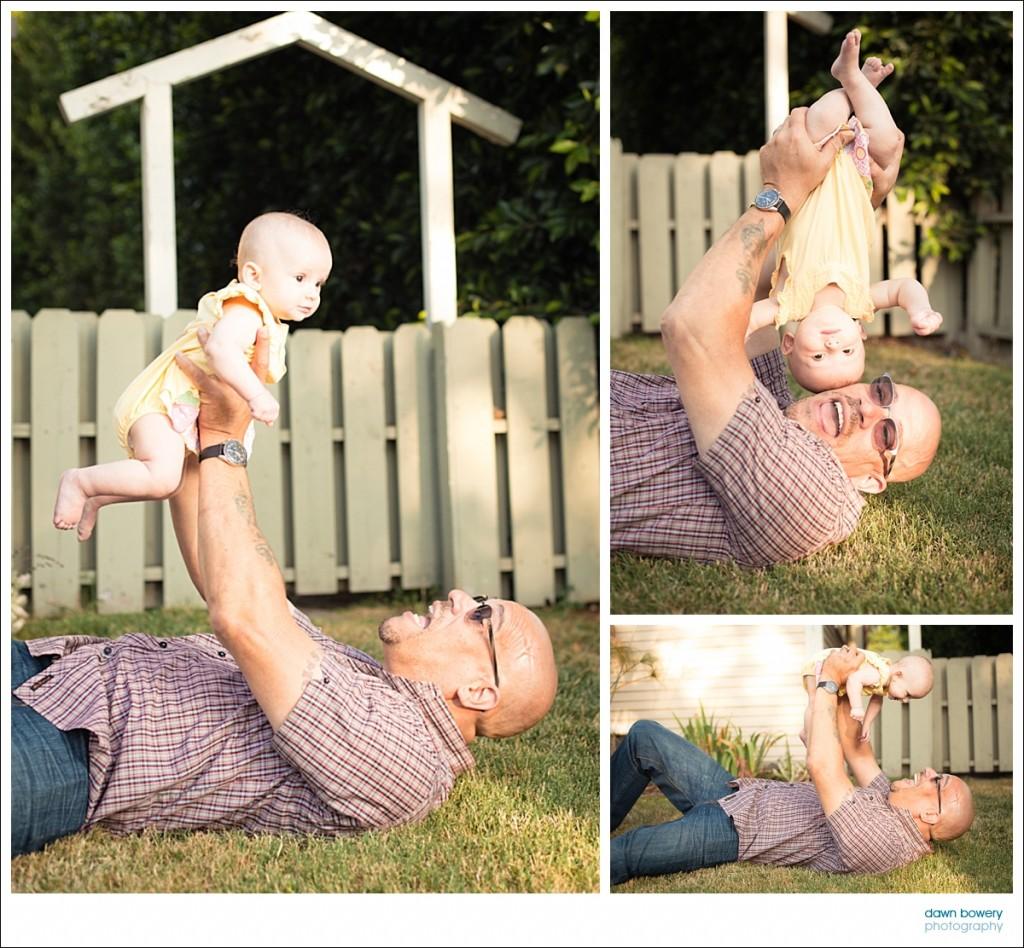 los angeles family portrait photographer dad  and baby  play